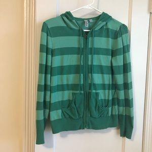 Green striped stretch cotton hoodie